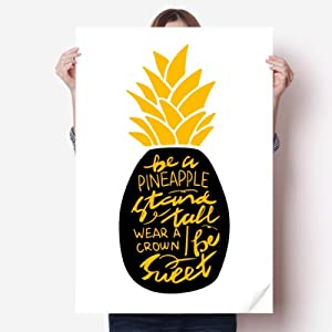 Be a Sweet Pineapple Yellow Quote Sticker Decoration Poster Playbill Wallpaper Window Decal