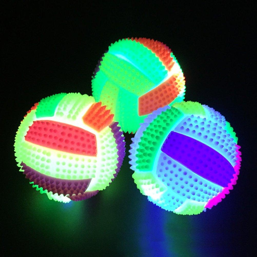 gshhd0 Sfera Giocattoli LED Pallavolo Lampeggiante Si Illumina Colore Cambiando Saltellante Porcospino 6.5Cm Cane Gatto Animali Scricchiolante Masticazione Bell Bambini Divertimento Giocattolo