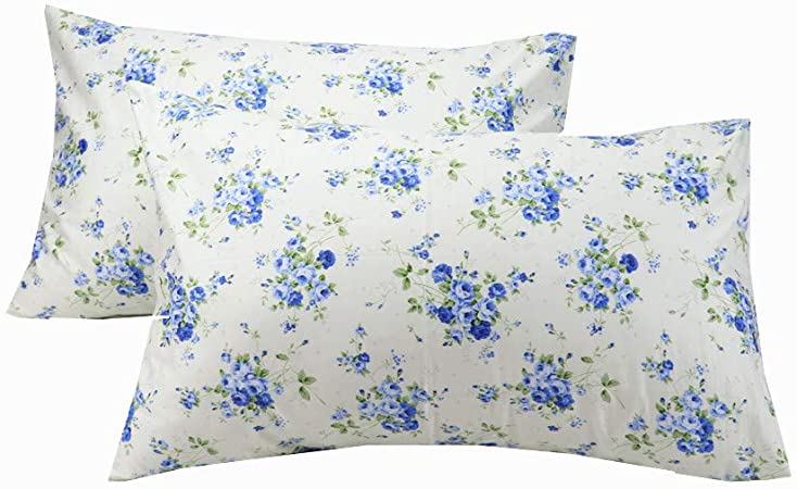 Blue Floral Embroidered Pillowcase Standard Size