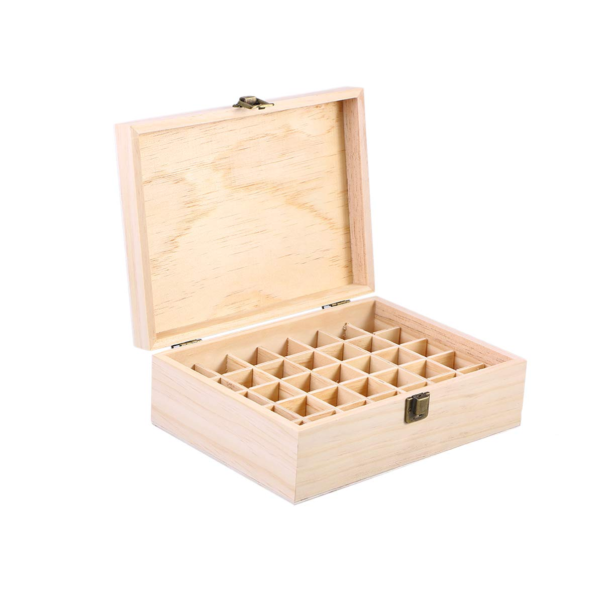 Lurrose 35 Slots Wooden Essential Oil Box, Holds 5ml-15ml Roller Bottles Organizer Storage Case Decorative Boxes