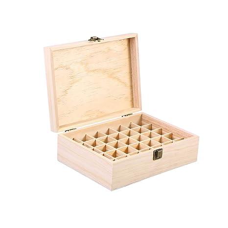 Frcolor 15ml Caja de Almacenamiento de Botellas de Rodillo de Caja de aceites Esenciales de Madera