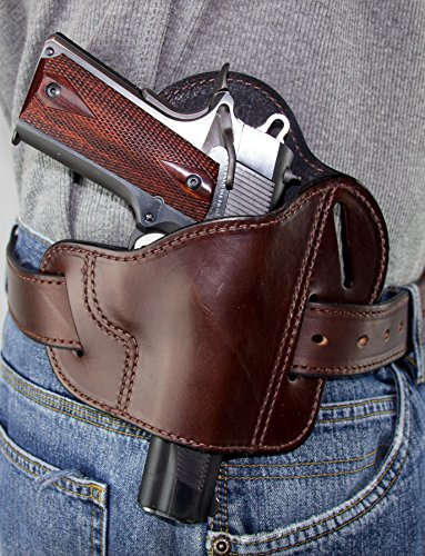 Relentless Tactical The Ultimate Leather Gun Holster | 3 Slot Pancake Style Belt Holster | Handmade in The USA! | Fits All 1911 Style Handguns Brown Left Handed