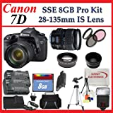 Canon EOS 7d 18mp SLR Digital Camera (Includes Manufacturer's Supplied Accessories) with 28-135mm USM Is Lens + SSE Huge Lens Accessories Package, Best Gadgets