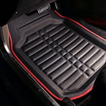 FH Group F14409SOLIDBLACK  Red and Black Floor Mats F14409REDBLACK Deep Tray All Weather Floor Mats, 4 Piece