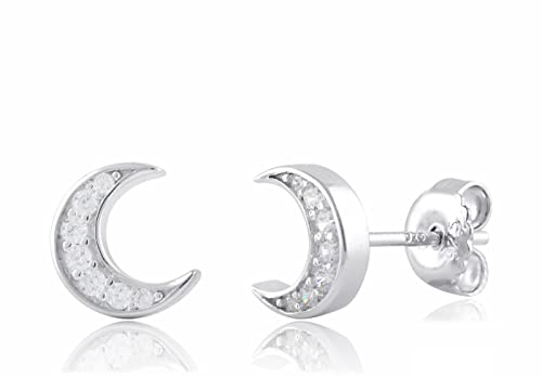 7ad9264216dc2 Sterling Silver Cz Crescent Moon Stud Earrings