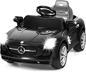 Costzon Ride On Car, Rechargeable Battery Powered Ride On Vehicle, Parental Remote Control and Foot Pedal Modes, with Headlights, Music (Black)