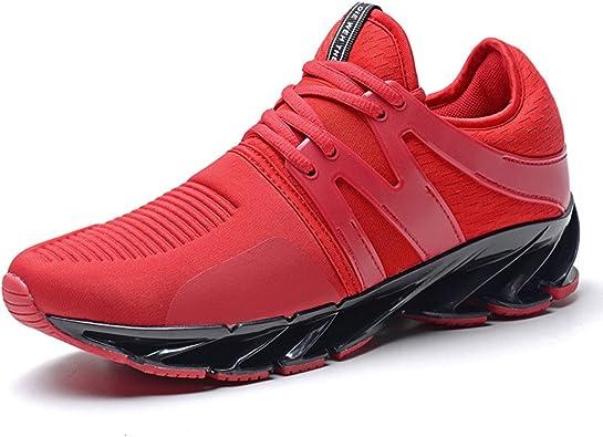 Zapatillas Running Calzados Deportivo Casual Sneakers Zapatos Correr para Hombre Mujer Negro Rojo Verdes 38-45 Rojo 45: Amazon.es: Zapatos y complementos