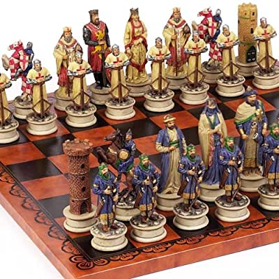 Crusade Chessmen & Georgio Chess Board From Italy Large, King: 4 1/2""