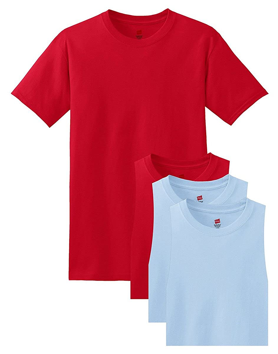 2XL Pack of 4 Hanes Mens Comfortsoft T-Shirt 2 Deep Red // 2 Light Blue