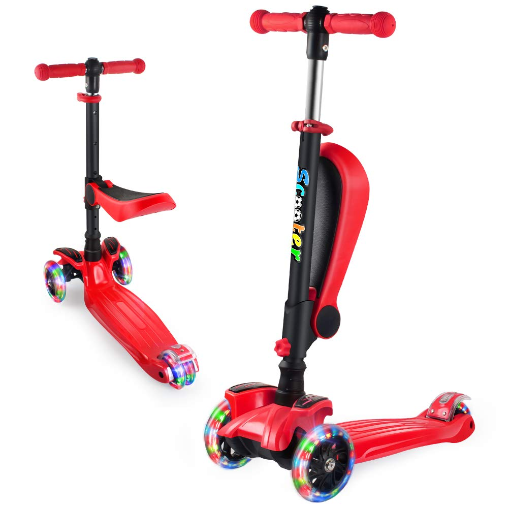 GOOGO 2 in 1 Scooter for Kids with Folding/Removable Seat, Kick Scooter 3 Wheel for Toddlers Girls & Boys - Adjustable Height, LED PU Flashing Wheels for Children Ages 2-14 (Red) by GOOGO