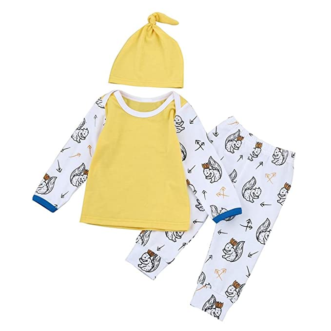 Amazon.com: Vovotrade 1Set/3PCs Newborn Kids Outfits Clothes Baby Girls Boys Cartoon T-shirt Tops+Pants+Hat: Clothing