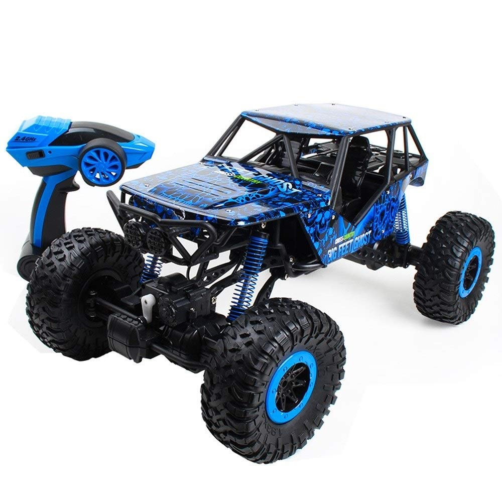TBFEI 1:10 Four-Wheel Drive Remote-Controlled Off-Road Vehicle High-Speed Climbing Big Cart Remote Control Car Boy Child Toy Car Gifts for Kids 3+ (Color : Blue, Size : 3-Battery) by TBFEI (Image #1)