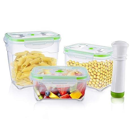 6a8b73aa797a Amazon.com: Janolia 3 Pcs Airtight Food Containers, Vacuum Lunch ...