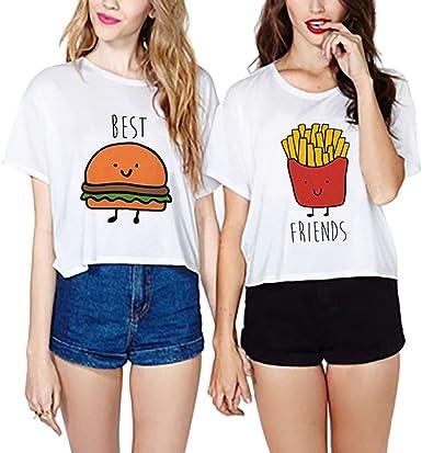 JWBBU Camisetas Mejores Amigas 2 Piezas Camisas de Impresión Best Friend Manga Corta Tops Blanco (Best-XL+FR-XL): Amazon.es: Ropa y accesorios