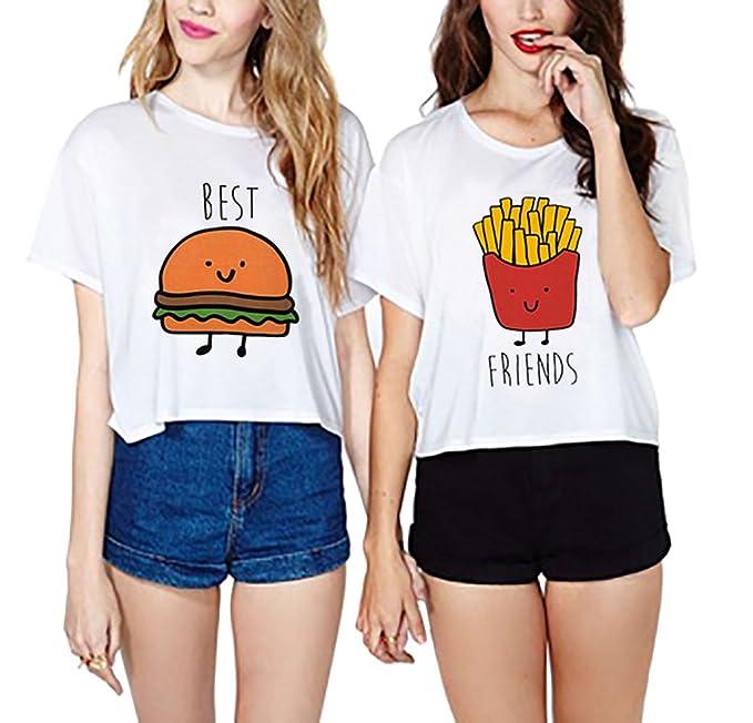 Jwbbu Camisetas Mejores Amigas 2 Piezas Camisas De Impresión Best