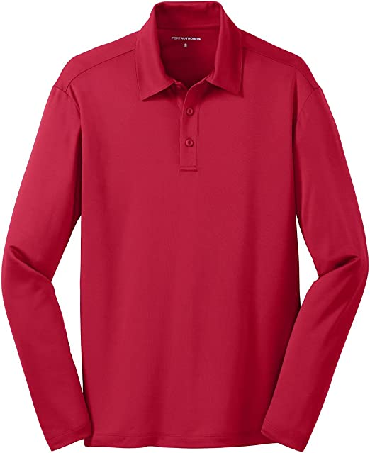 Port Authority Mens Silk Touch Performance Long Sleeve Polo-Black K540LS
