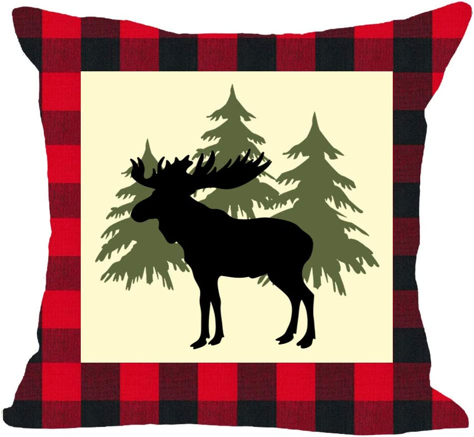 Classic Red and Black Plaid Welcome to The Wild Animal Moose Tree Forest Winter Cotton Linen Square Throw Waist Pillow Case Decorative Cushion Cover Pillowcase Sofa 18x18 inches