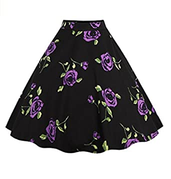 Relipop Women Floral Pleated Knee Length A-line Skirt at Amazon ...