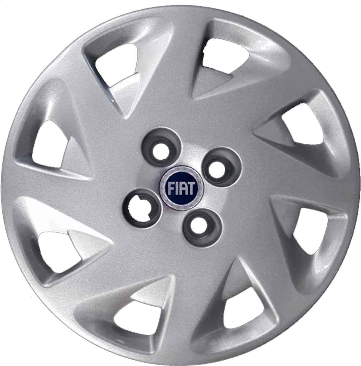 Aftermarket - Juego de 4 tapacubos para ruedas de 14 pulgadas (35,56 cm) - Para Fiat Punto a partir del 1999 - Logotipo de color azul (producto no ...
