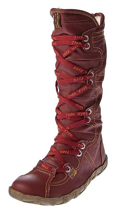 new style 7922b df40f TMA Leder Stiefel Damen Schuhe gefüttert Winter Lederstiefel Schwarz Gelb  Blau Rot Grün Weiß Braun