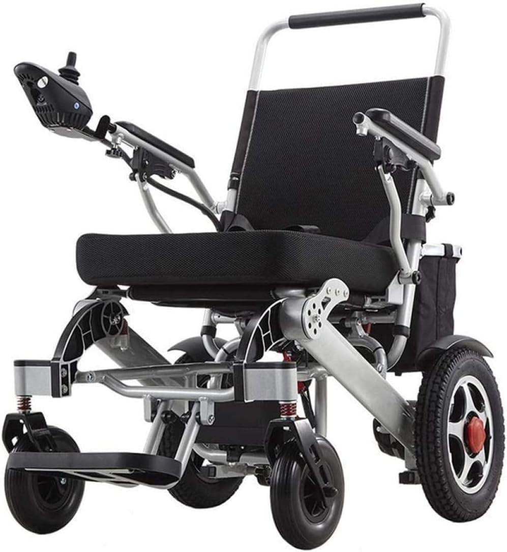mjj Silla de ruedas eléctrica plegable Lightweight Carry Powerchair Scooter 24 V 20 Ah batería de iones de litio 250 W * 2 Dual Motor eléctrico silla de ruedas