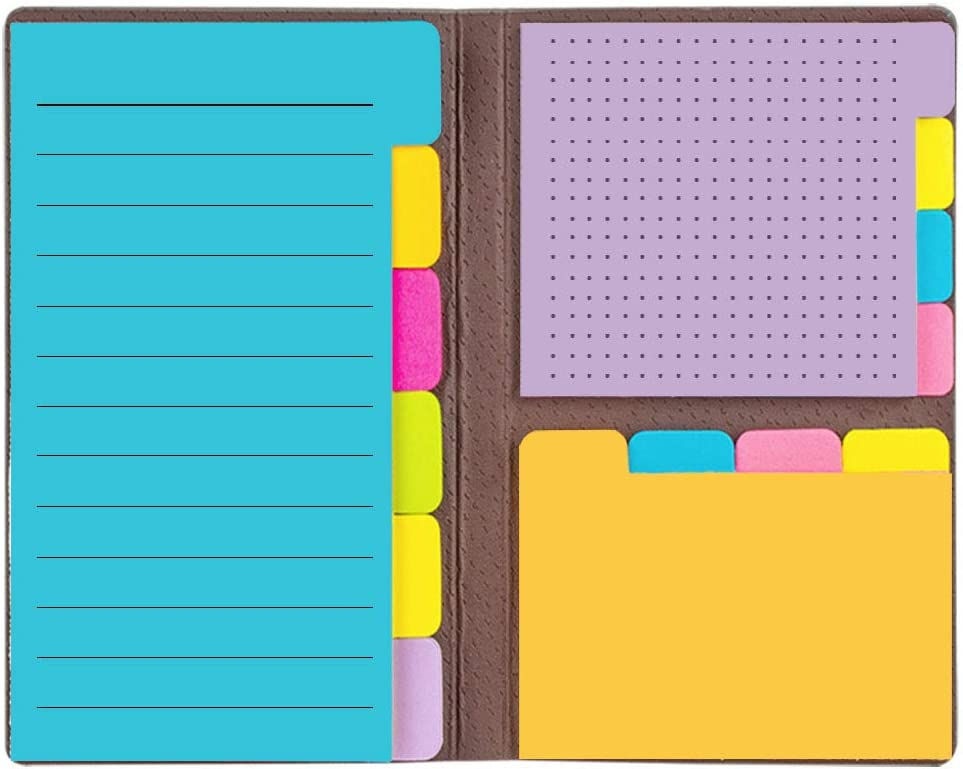 Colored Divider Sticky Notes Bundle Set Self-Stick Note- Sticky Note Pads Bookmark with Color Coding - 60 Ruled Lined Notes (3.8x5.9), 48 Dotted Notes (3x3.8), 48 Blank Notes (2.6x3.8)