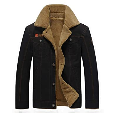 TAGGMY Jackets for Men, Winter Warm Casual Slim Fit Standing Collar Plus Size Pocket Button