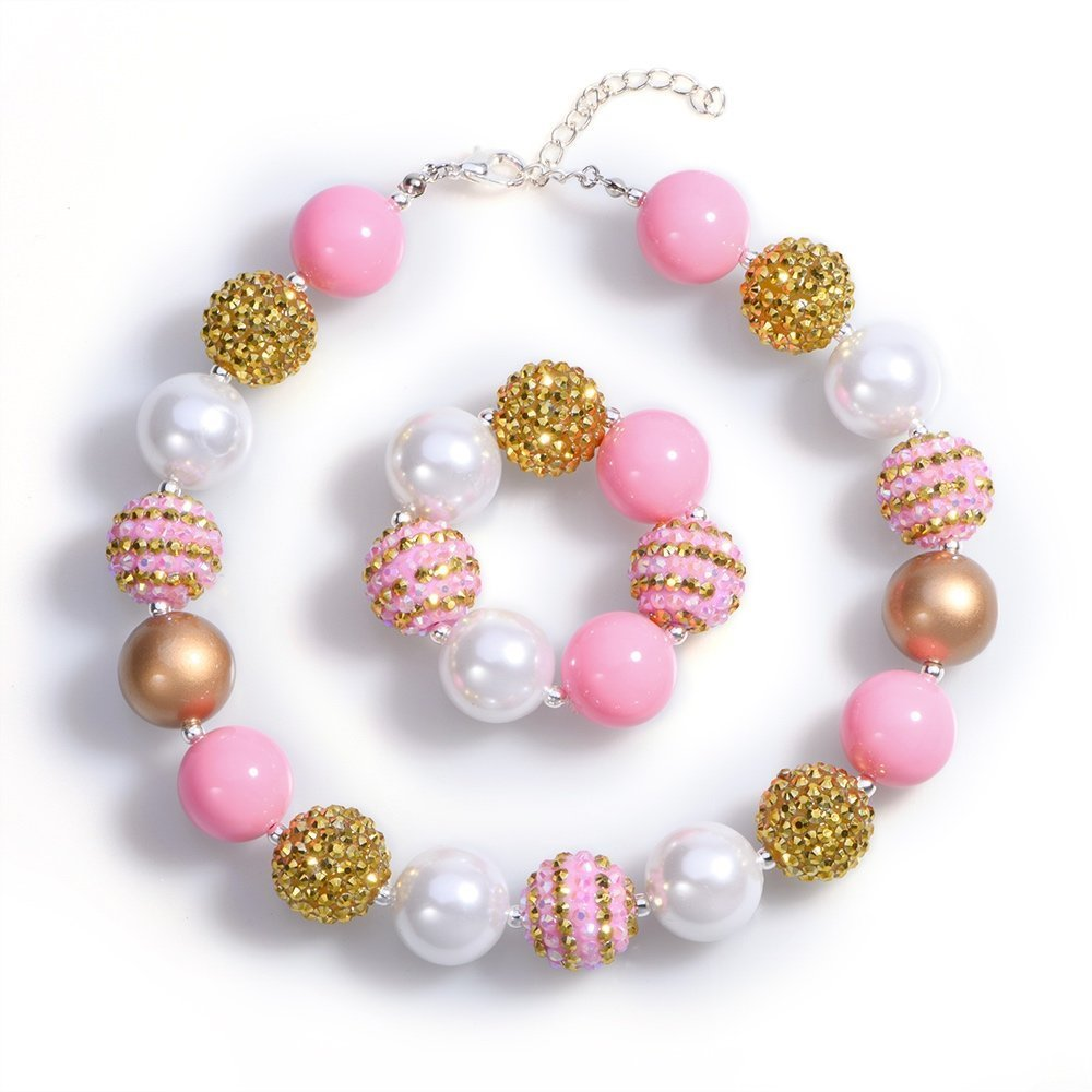 BUENAVO Chunky Bubblegum Necklace Pink Gold Fashion Beads Baby Jewelry Children Necklace Bracelet Set Birthday Outfit with Gift Box and Greeting Card