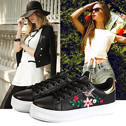Agsdon Mujeres Sneakers Casual Fashion Transpirable Zapatos Ligeros Deportivos Negro