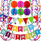 Fecedy Happy Birthday Banner With Colorful Paper Flag Bunting Paper Circle Confetti Garland Swirl Streamers Honeycomb ball for Birthday Party Decorations