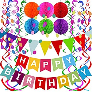 Best Epic Trends 61fjFRUX2VL._SS300_ Fecedy Happy Birthday Banner with Colorful Paper Flag Bunting Paper Circle Confetti Garland Swirl Streamers Honeycomb…