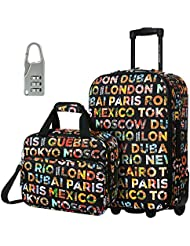 DAVIDJONES Kid's Rolling Carry on Small Hand Travel Luggage Set of 2 Suit Case