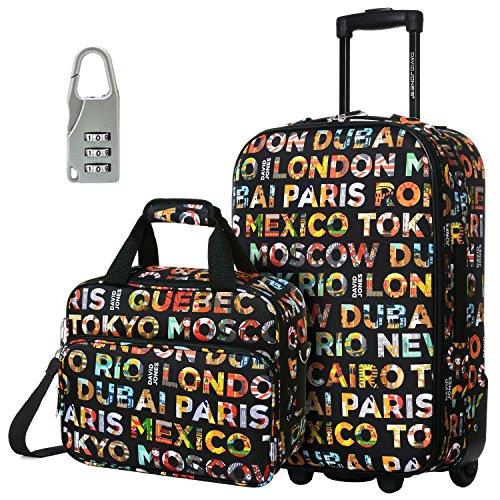 DAVIDJONES Upright Carry-on & Travel case Luggage Set, 2 Piece - LETTRE CAPITALES (BA-4008-2PV-LETTRE CAPITALES)