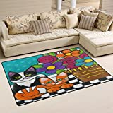 WOZO Hipster Cat Kitten Floral Print Area Rug Rugs Non-Slip Floor Mat Doormats for Living Room Bedroom 60 x 39 inches Review