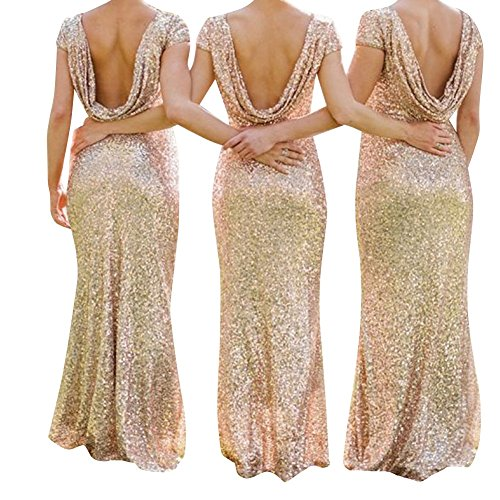 MuNiSa Women's Mermaid Cap Sleeve Open Back Sequins Long Bridesmaid Evening Prom Dress US4 Gold