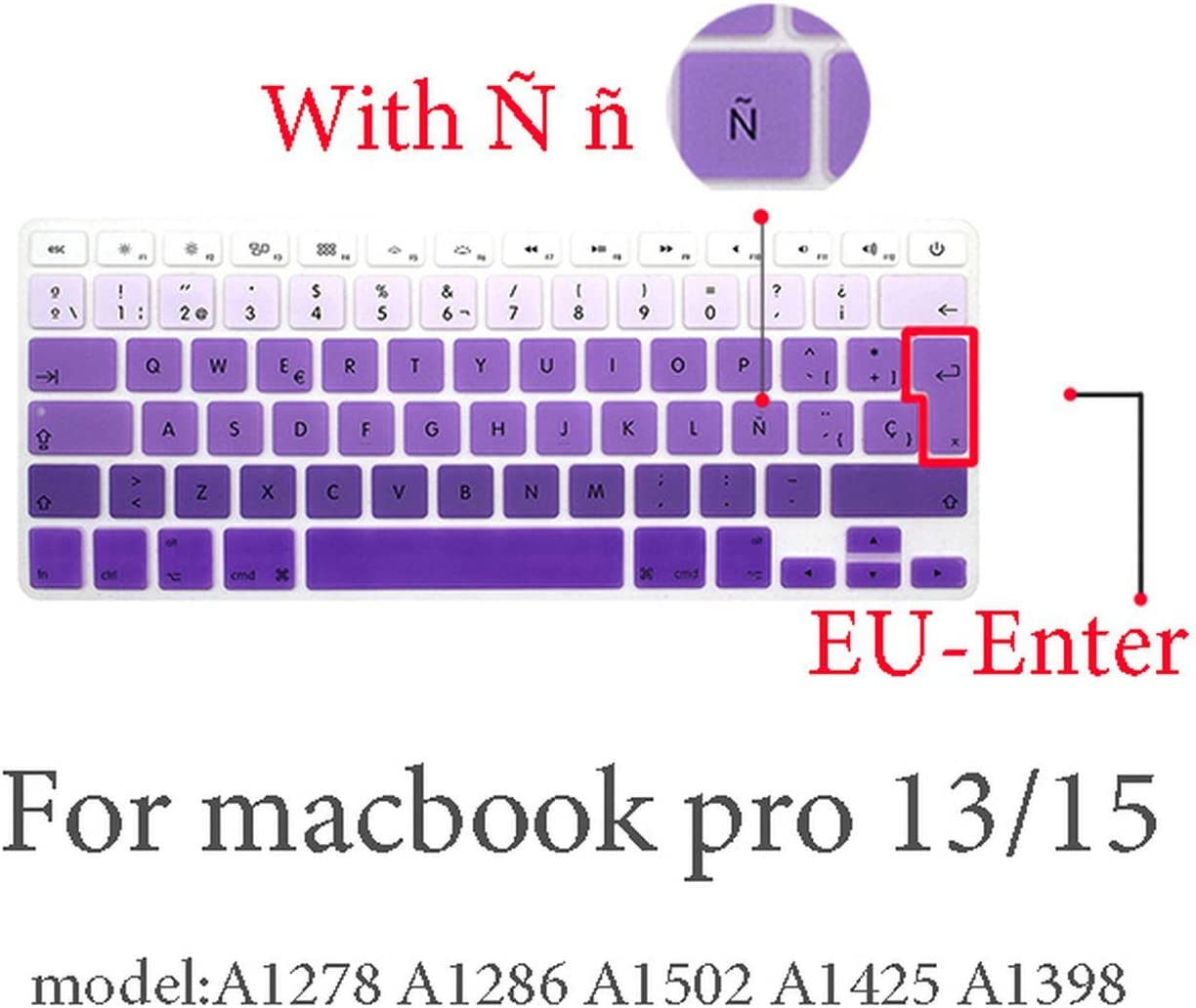 2020 Spanish Keyboard Protective Film for Mac Book Pro 13 A2159 Pro13 Air A1466 A1708A1989A1932 EU Key Silicone Keyboard Cover-Pro13 15 2009-2015 1