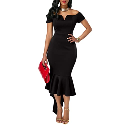 Z-one Womens 2017 Classic Style Fishtail Skirt Dresses Off Shoulder V Neck Evening Party