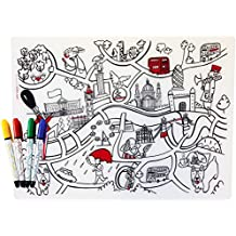 Modern-Twist Kids, 100% Pure Silicone Mark-Mat Coloring Placemat with 4 Dry-Erase Markers, London