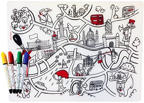 modern-twist Kids Mark-Mat Alfombra de silicona para colorear, 4 marcadores, diseño día soleado en París