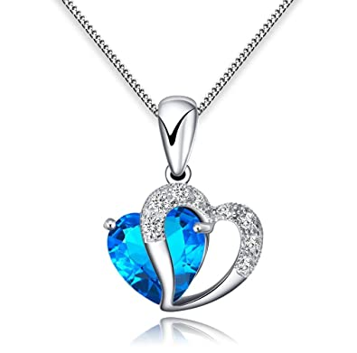 Anewish womans blue heart crystal with silver heart pendant anewish womans blue heart crystal with silver heart pendant necklace sterling silver chain blue mozeypictures Choice Image