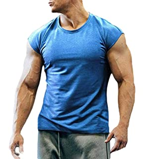 CYJ-shiba Mens Muscle Cotton Short Sleeves Crewneck T-Shirt Blouse Shirt