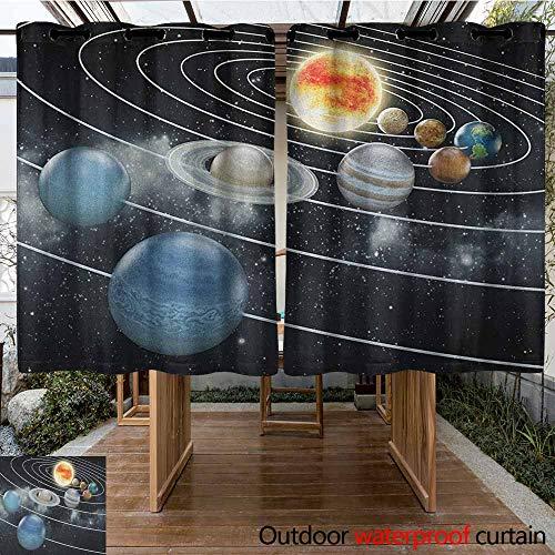 Indoor/Outdoor Curtains,Galaxy,Solar System All Eight Planets and The Sun Pluto Jupiter Mars Venus Science Fiction,Waterproof Patio Door Panel,K140C160Black Grey ()