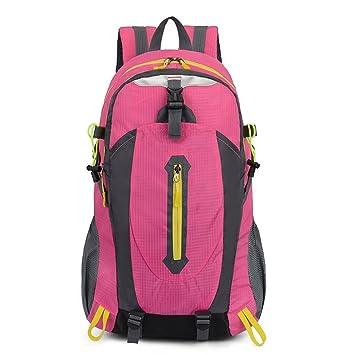 C-Xka Mochila de Senderismo Ligera 40L, Multifuncional Resistente al Agua Casual Acampar al Aire Libre Deporte Mochila de Trekking (Color : Pink): ...