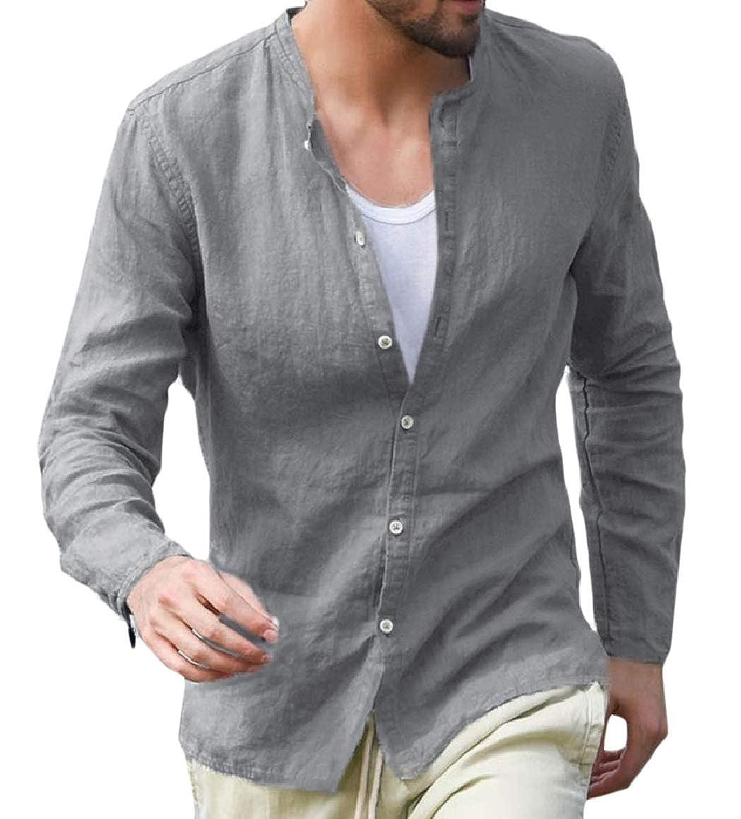 Abetteric Mens Tunic Shirt Linen Buttoned Stand Up Collar Comfort Blouse Tops