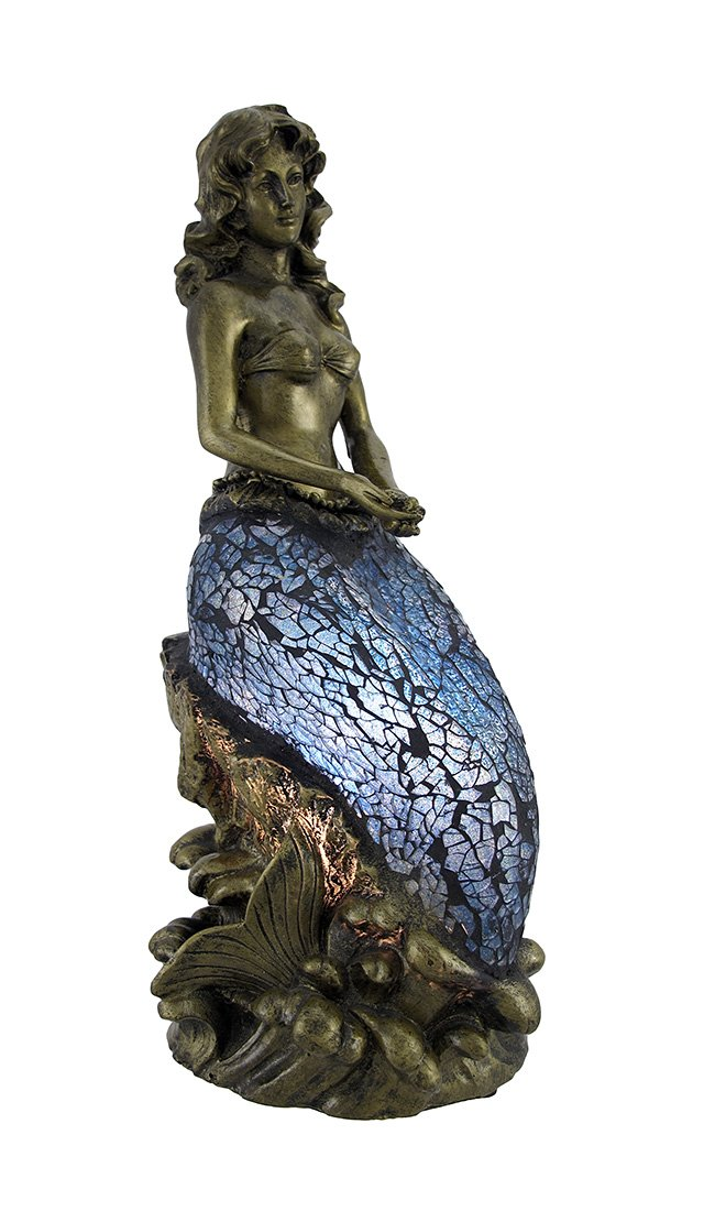 Bronzed Mermaid Accent Lamp With Blue Crackle Glass   Table Lamps    Amazon.com