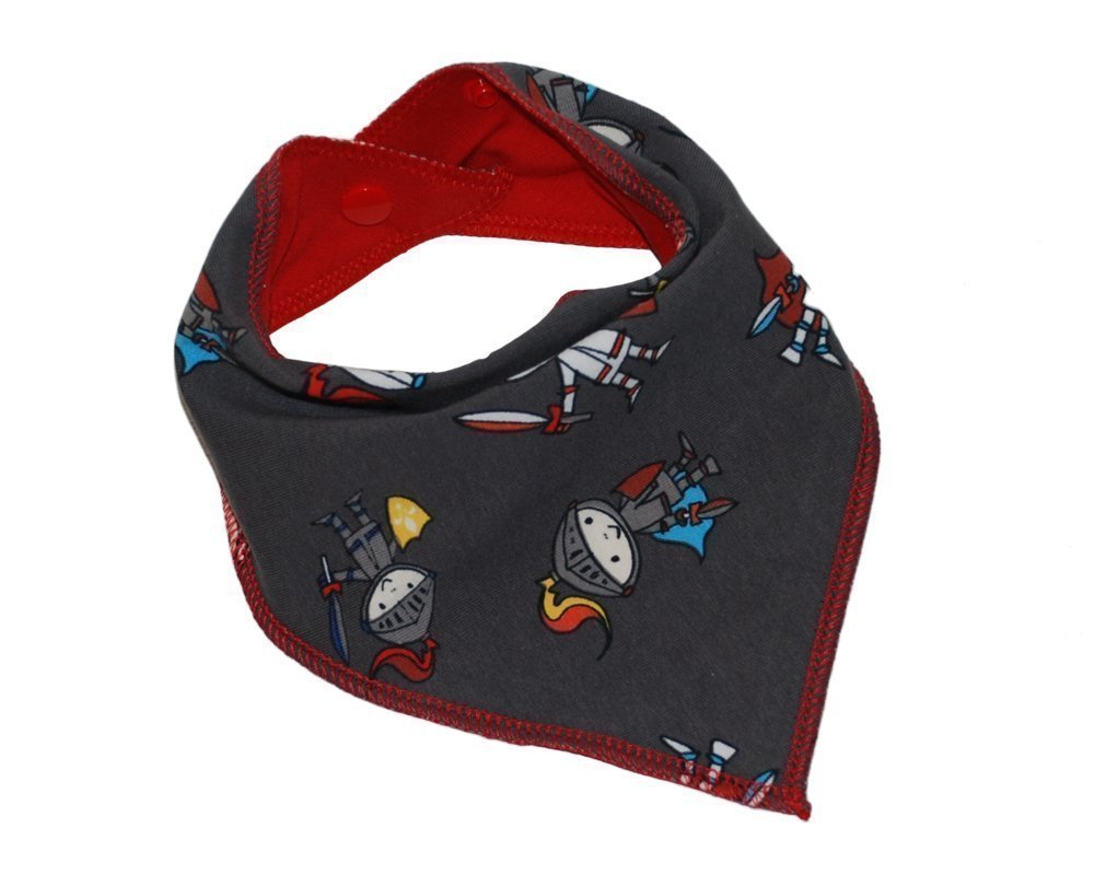 Baby girl and boy knights reversible dribble bib bandana for baby teething, feeding, handmade with absorbent cotton adjustable with plastic snaps, fits newborn infant and toddler