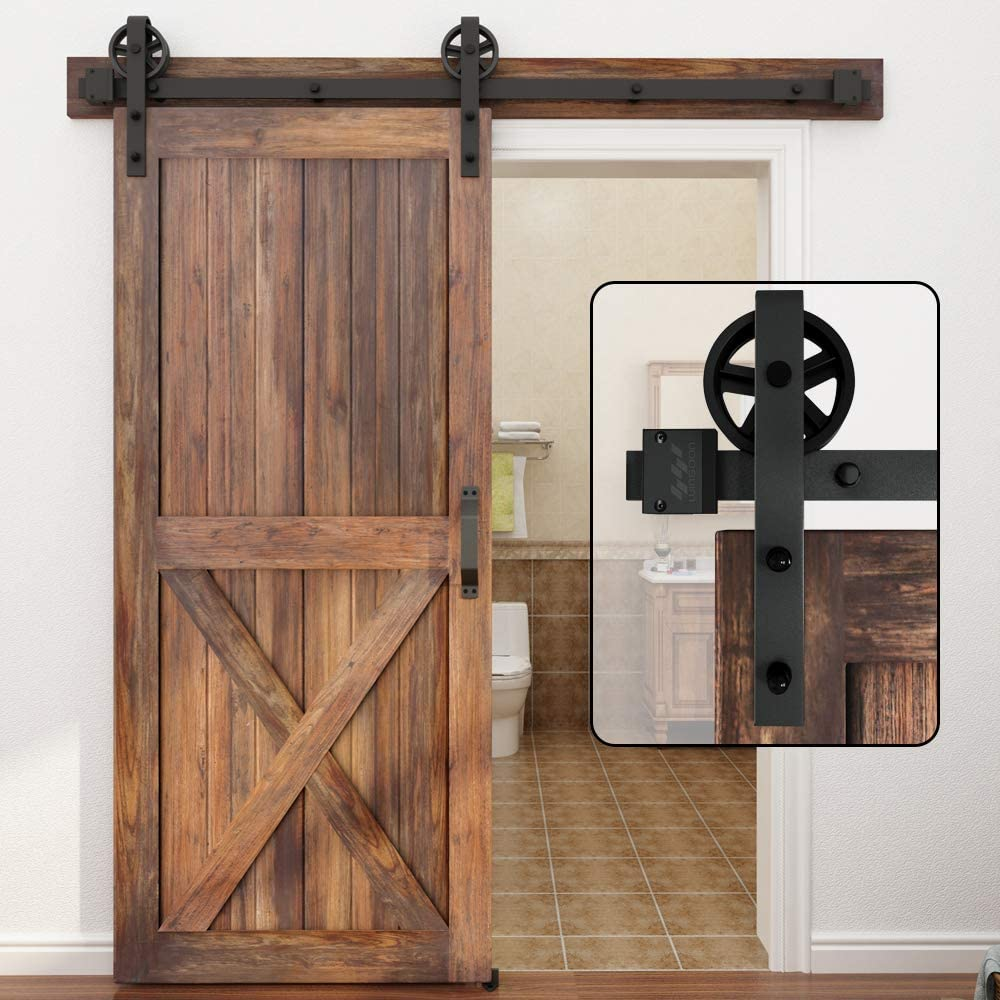 Winsoon 5 16ft Single Wood Sliding Barn Door Hardware Basic Black Big Spoke Wheel Roller Kit Garage Closet Carbon Steel Flat Track System 6ft Amazon Ca Tools Home Improvement