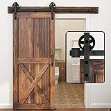 WINSOON 5-16FT Single Wood Sliding Barn Door Hardware Basic Black Big Spoke Wheel Roller Kit Garage Closet Carbon Steel Flat
