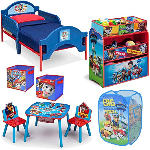 Nickelodeon Delta Children Nick Jr Paw Patrol 8-Piece Furniture Set - Plastic Toddler Bed, Table and Chair Set, Multi Bin Toy Organizer, 2-Pack Storage Cube and Pop Up