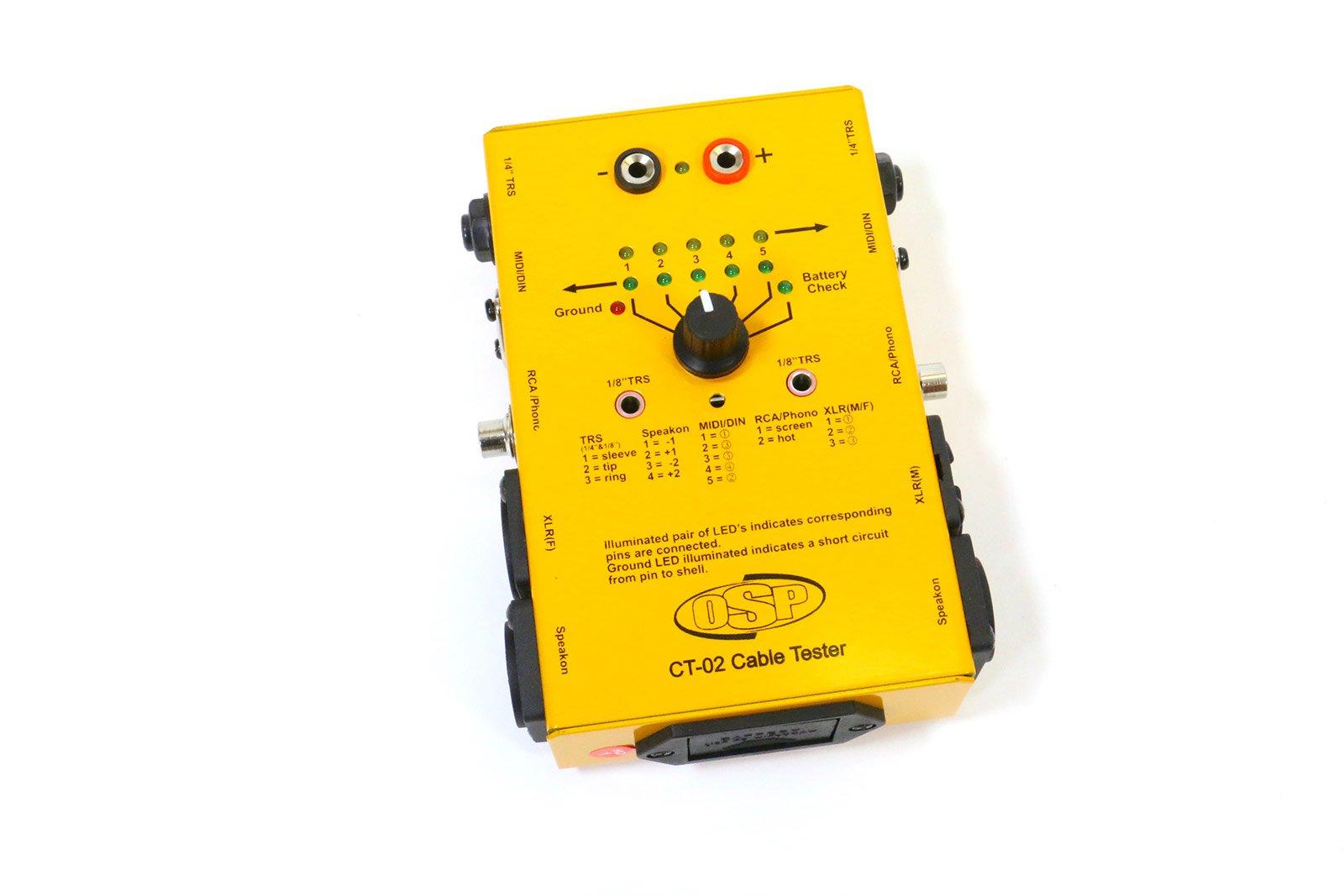 OSP CT-02 Cable Tester XLR, 1/4'' TRS, Speakon, RCA, MIDI/DIN